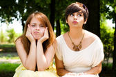 Artistic young girls in the park — Stock Photo