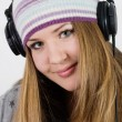Portrait of a girl in headphones — Stock Photo