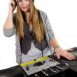 Young female hip-hop dj playing — Stock Photo