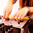 Hands of female DJ playing vinyl — Stock Photo