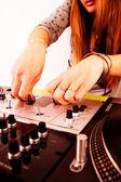 Hands of female DJ playing vinyl — Stock Photo