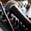 Vocal microphone on sound mixer — Stock Photo #4633587