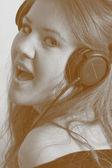 Young female girl dj — Stock Photo