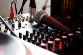 Vocal microphone on sound mixer — Stock Photo