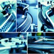 Collage of turntables playing vinyl records — Stock Photo #5018535