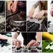 collage with hands of djs — Stock Photo