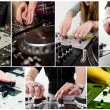Stock Photo: collage with hands of djs