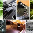 Collage of turntables playing vinyl records — Stock Photo