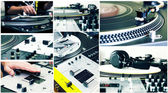 Collage of a DJ equipment — Stock Photo