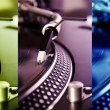 Three colored turntable record players — Stock Photo