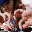 Young female DJ playing music — Stock Photo