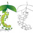 Caterpillar and umbrella — Imagen vectorial