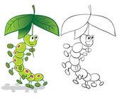 Caterpillar and umbrella — Stock Vector