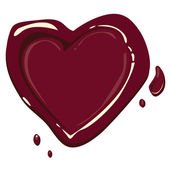 Heart with blood droplet — Vector de stock