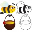 Bee with honey. — Stock Vector