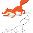 Red fox — Stock Vector