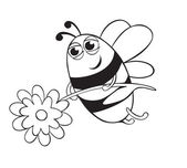 Bee with flower — Stock Vector