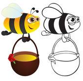 Bee with honey. — Stock Vector