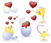 Chickens and Valentine — Stock Vector