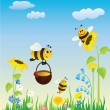 Meadow and bees — Grafika wektorowa