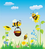 Meadow and bees — Stock Vector