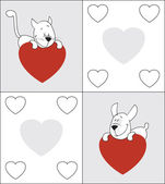 Cat and dog. Valentine — Vector de stock