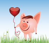 Small pig with a balloon-heart — Stock Vector
