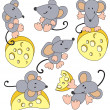 Mouse and cheese — Stock Vector