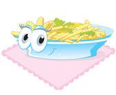 Patatas fritas en un plato — Vector de stock