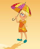 Girl and umbrella — Stock Vector