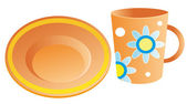 Plates and cups — Stock Vector