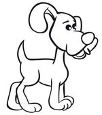 Divertido perro de contorno — Vector de stock