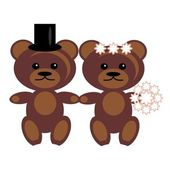 Pair of teddy bears — Stock Vector