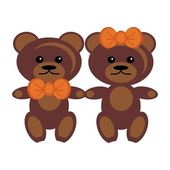 Pair of teddy bears — 图库矢量图片