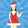 Royalty-Free Stock Vectorielle: Girl in christmas dress
