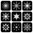 Set of icons with snowflakes - Stock Vector