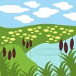 Royalty-Free Stock Vector Image: Illustration of lake and grass