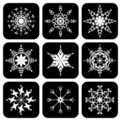 Set of icons with snowflakes — Stock Vector