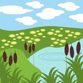 Illustration of lake and grass — Stock Vector