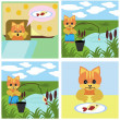 Comics short story about cat - Stock Vector