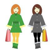Two girls going shopping — Stock Vector