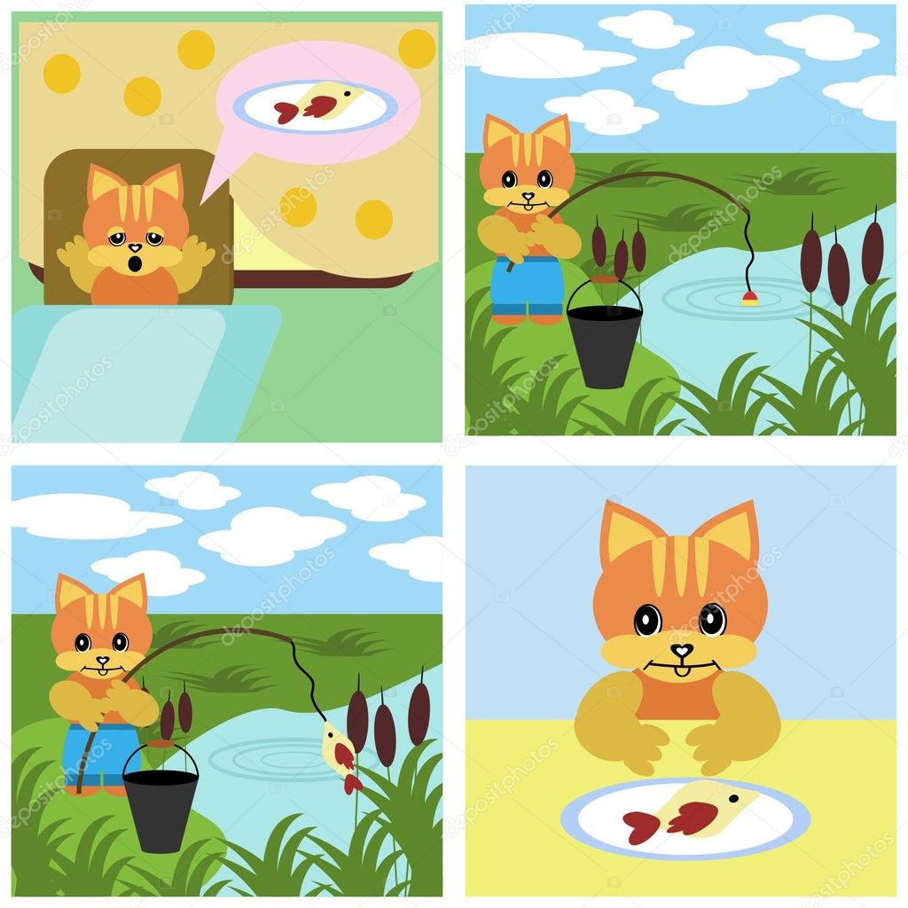 Comics short story about ginger cat — Stock Vector #4027317