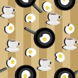 Stock Vector: Seamless background with cups of coffee and eggs