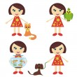 Royalty-Free Stock Imagen vectorial: Four nice girls with pets