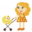 Nice girl with perambulator — Stock Vector