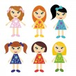 Stock Vector: Little girls with different hair styles