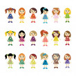 Many girls on white background - Stock Vector
