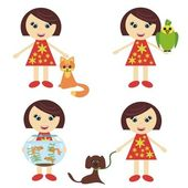 Four nice girls with pets — Stock Vector