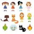 Vector de stock : Girls and pets on white