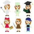Six girls of different professions — Imagens vectoriais em stock